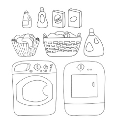 Laundry elements set washer and dryer detergents vector