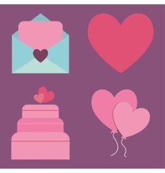 Love letter heart balloons and cake design vector