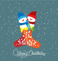 Merry christmas with couple snowman vector image vector image