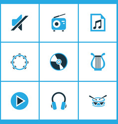 Music colored icons set collection of harp play vector
