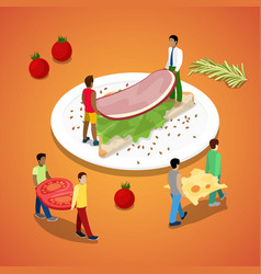 People making sandwich with ham and cheese vector