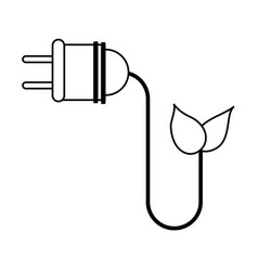 Plug with leaf eco friendly related icon image vector