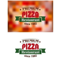 Premium pizza restaurant sign vector