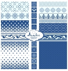 Seamless arabic backgrounds and borders vector image vector image