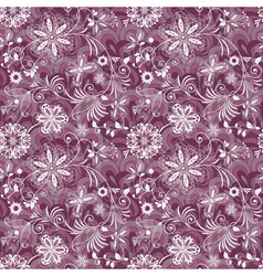 Seamless purple-white vintage pattern vector image
