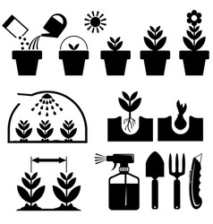 set agrotechnics icons vector image