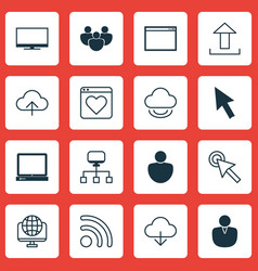Set of 16 internet icons includes display mouse vector