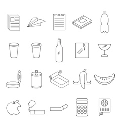 Set of line garbage signs vector image vector image
