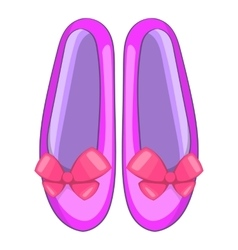 Shoes with a bow icon cartoon style vector