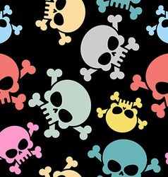 Skull with bones seamless pattern Colored skull vector image vector image