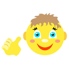 Smiley boy with a thumbs up gesture vector