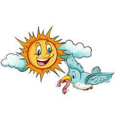 Sun and bird vector