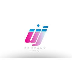 uj u j alphabet letter combination pink blue bold vector image vector image