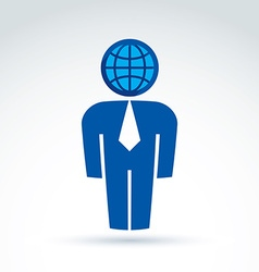 White collar office worker man icon with earth vector