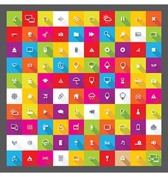 100 popular web icons with shadows eps 10 vector image