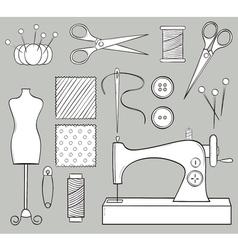 Hand Drawn Sewing Set vector image