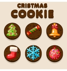 Set Cartoon Chocolate Christmas cookies biskvit vector image