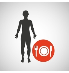 Silhouette man fitness menu health vector