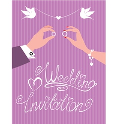 Wedding invitation - groom and bride hands vector