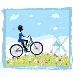 Silhouette of boy on bike vector