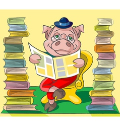 Bibliophile pig vector