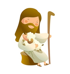 Side view of jesus christ sitting with sheep vector