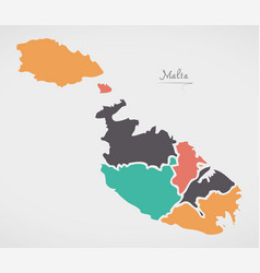 Malta map with states and modern round shapes vector