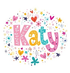 Katy female name decorative lettering type design vector
