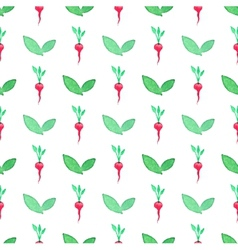 Seamless watercolor pattern with radishes on the vector