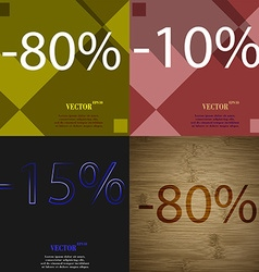 10 15 80 icon set of percent discount on abstract vector