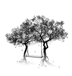 Silhouette of trees and swing between the trees vector