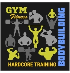 Bodybuilders silhouettes set vector