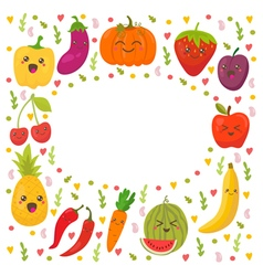 Fresh happy fruits and vegetables frame for your vector