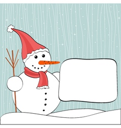 Christmas winter snowman and billboard vector