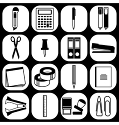 Flat stationery icons vector
