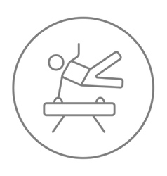 Gymnast exercising on pommel horse line icon vector