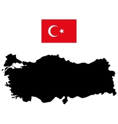 Map of turkey and the official flag vector
