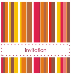 Invitation card template with vertical bars vector image
