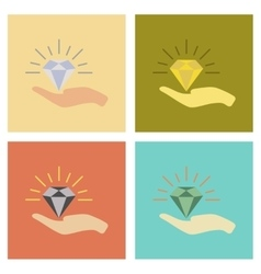 Assembly flat icons poker diamond in the hand vector