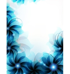 Abstract blue flowers vector