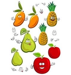 Apple mango pineapple and pear fruits characters vector image