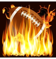 ball for American football in the fire vector image vector image