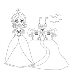 Beautiful young princess in front of her castle - vector