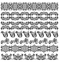 Black oriental ottoman border design two vector