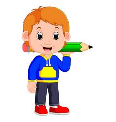 boy holding big pencil vector image