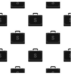 Briefcase full of money pattern flat vector