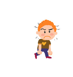 cartoon character boy angry vector image vector image