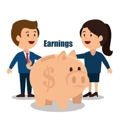 Cartoon money earnings design isolated vector