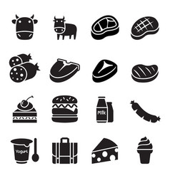 cattle icons vector image vector image