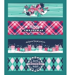 Christmas and New Year Set Plaid backgrounds vector image